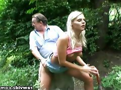 Blonde, Mature, Old and Young, Outdoor, Teen