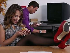 Office, Secretary, Stockings, Brunette