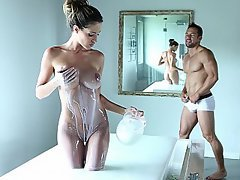 Babe, Bathroom, Big Tits, Brunette